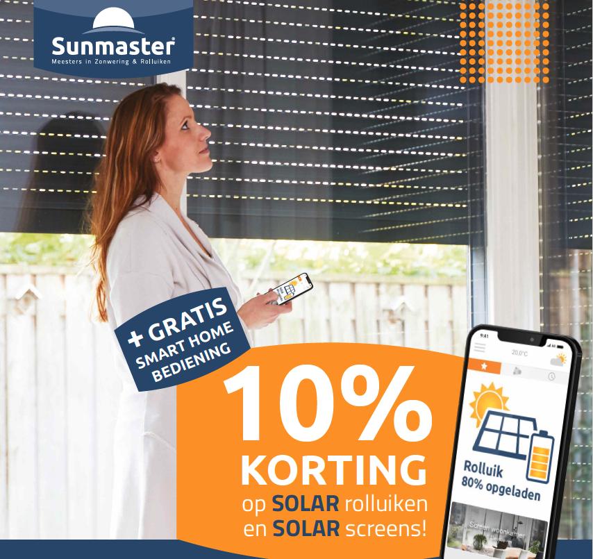 10% korting op Solar bij Sunmaster